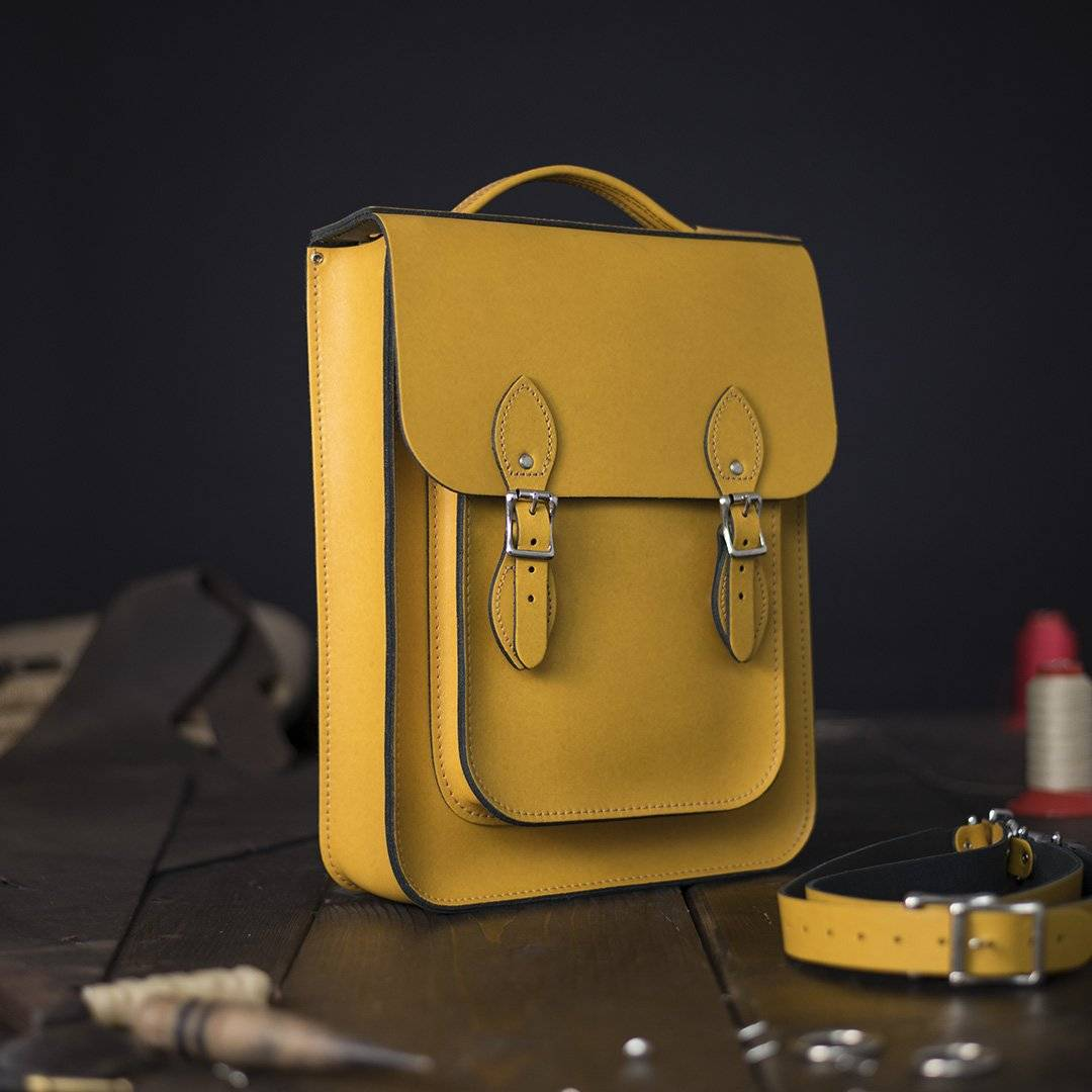Yellow Medium Leather Backpack