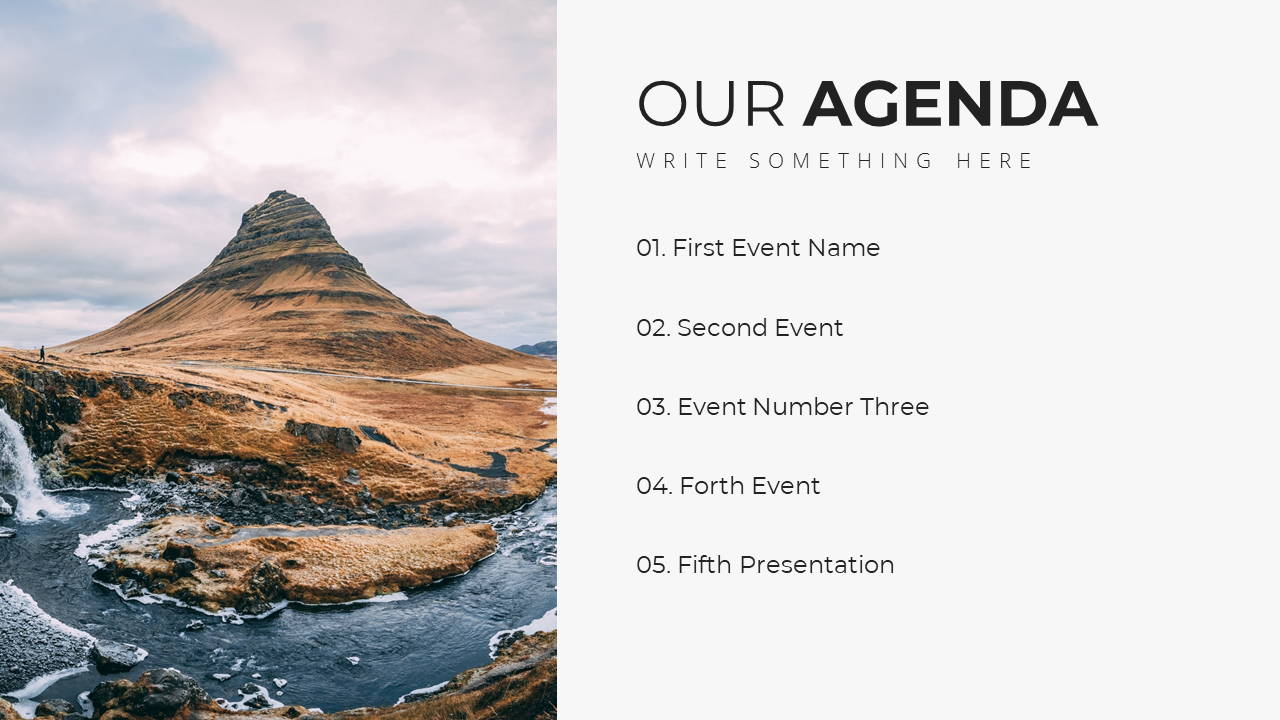 Minimal X  Company Profile Presentation Template Agenda