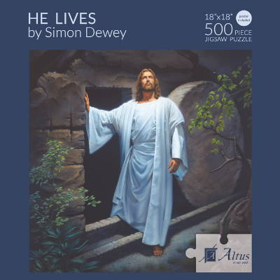 Box cover of a 500 piece puzzle featuring a painting of Jesus stepping out from the tomb.