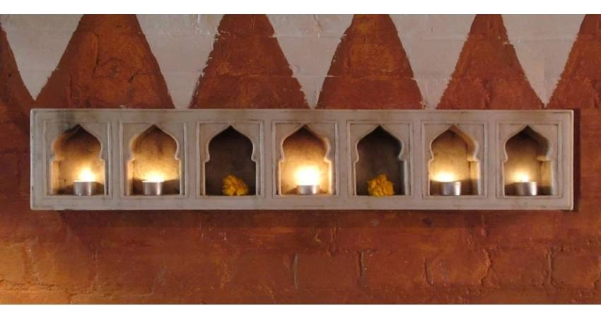 Mughal Style Marble Candle Sconces From India