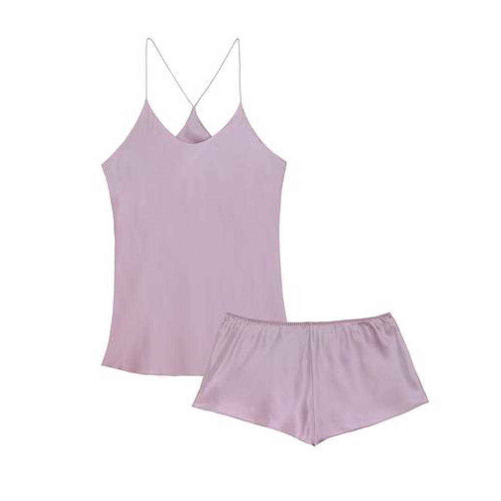 Olivia Von Halle Bella Amethyst silk camisole and shorts