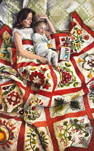 Painting of a mother and child relaxing on a bright quilt.