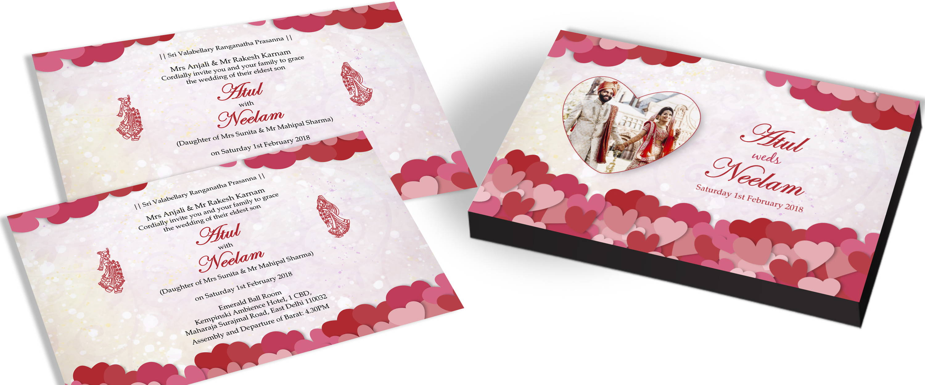 Personalised Invitation for Heart Theme Wedding