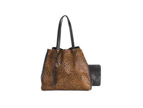 Leopard & Black Leather Tote
