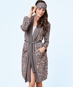 This is J bamboo robe and eye mask, Emmy Flower, charcoal grey.