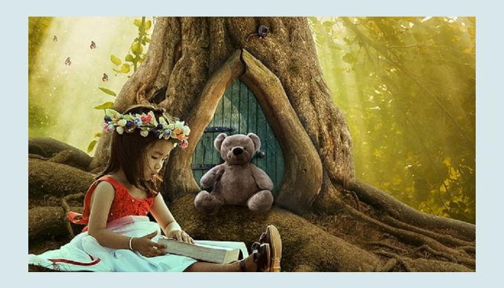 sdp märchengeburtstag kind das ein buch liest und ein teddy pb