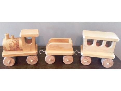 Handmade Wooden 3-Piece Train Set