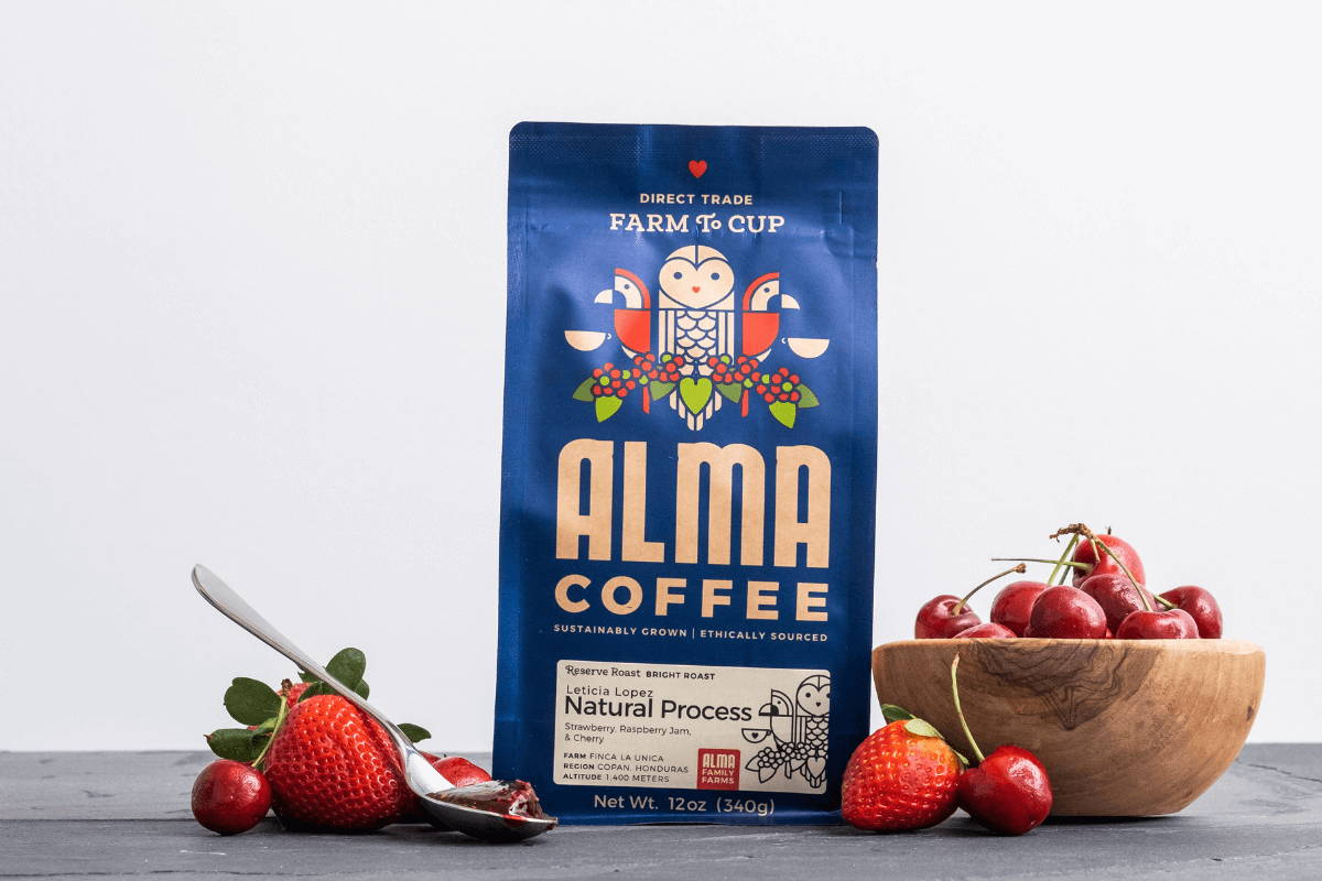 A bag of naturally processed coffee