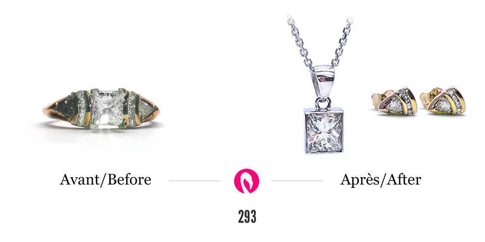 Transformation d'une bague démodée avec de gros et de petits diamants en un pendentif en or avec le gros diamant et des boucles d'oreilles en or avec les petits diamants