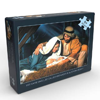 Puzzle box featuring Nativity art of the Holy Family.