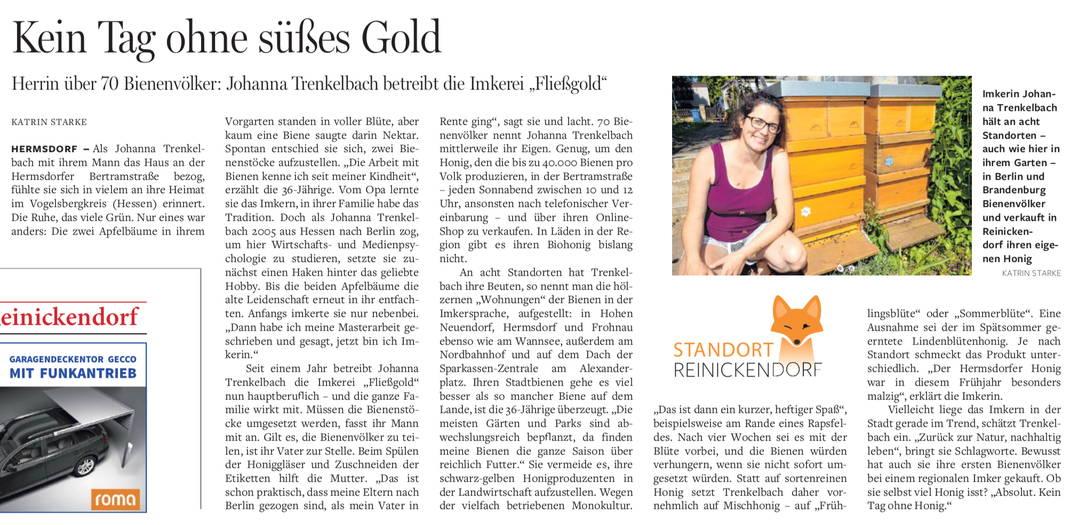 Artikel über die Bio-Imkerei Fließgold in der Berliner Morgenpost vom 18. Juni 2018