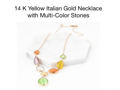Gold Necklace with Multi-color Stones