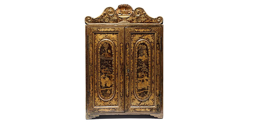 Gilt Black Lacquer Chinoiserie Jewellery Cabinet - Early 19thC   Indigo Antiques