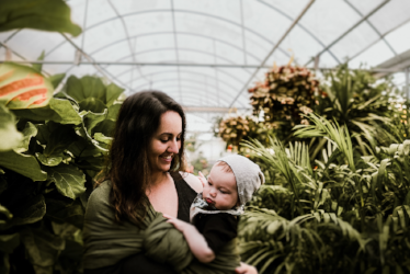 mom and child in Green house
