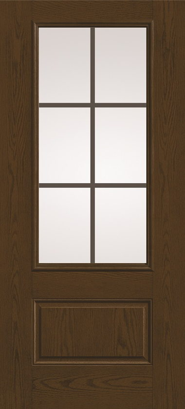 THERMA TRU THREE QUARTER GLASS WOOD GRAIN DOOR