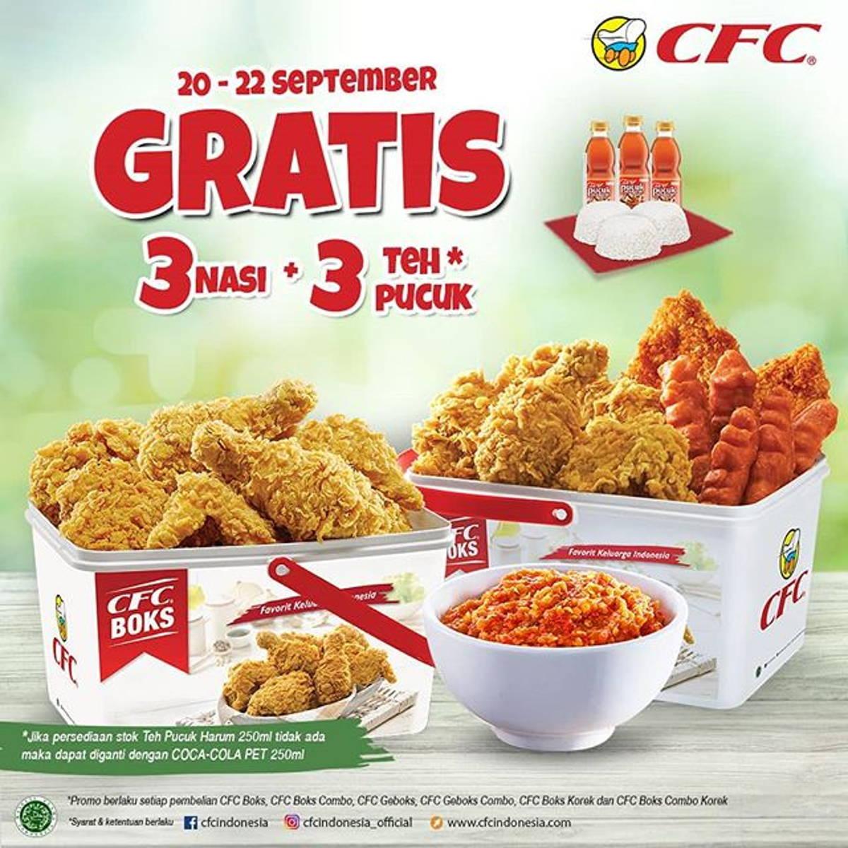 Katalog Promo: CFC: Promo CFC Boks GRATIS 3 Nasi + 3 Teh Pucuk Harum setiap pembelian CFC Boks - 1