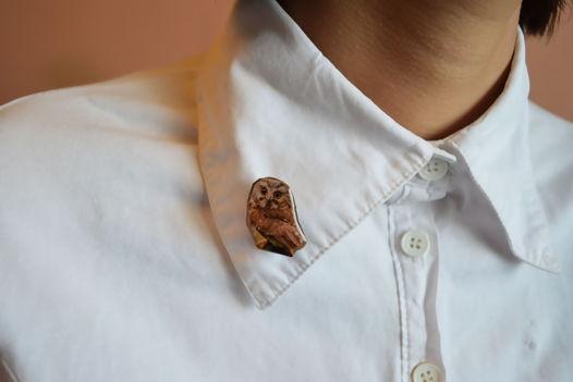 Брошь сова, символ мудрости и женственности. Бижутерия ручной работы.