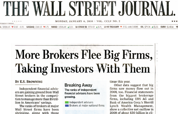 Coverage of RIAs starts off the 2010s with a bang by landing on page 1A of the Wall Street Journal