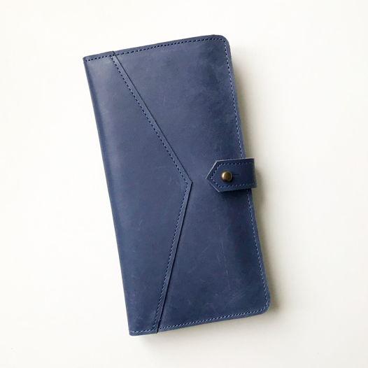 Кожаный кошелек-портмоне Cornflower/Ivory