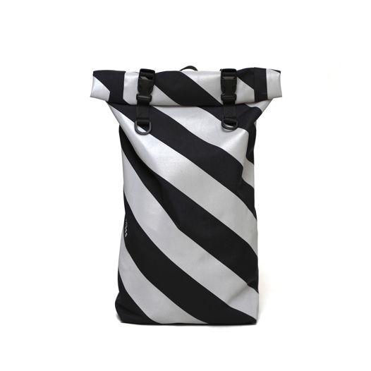 Черный роллтоп рюкзак  /  Black Rolltop Backpack with reflective print / Сумка со светоотражающим принтом