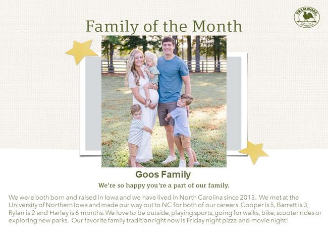 Primrose family of month - April parent appreciation