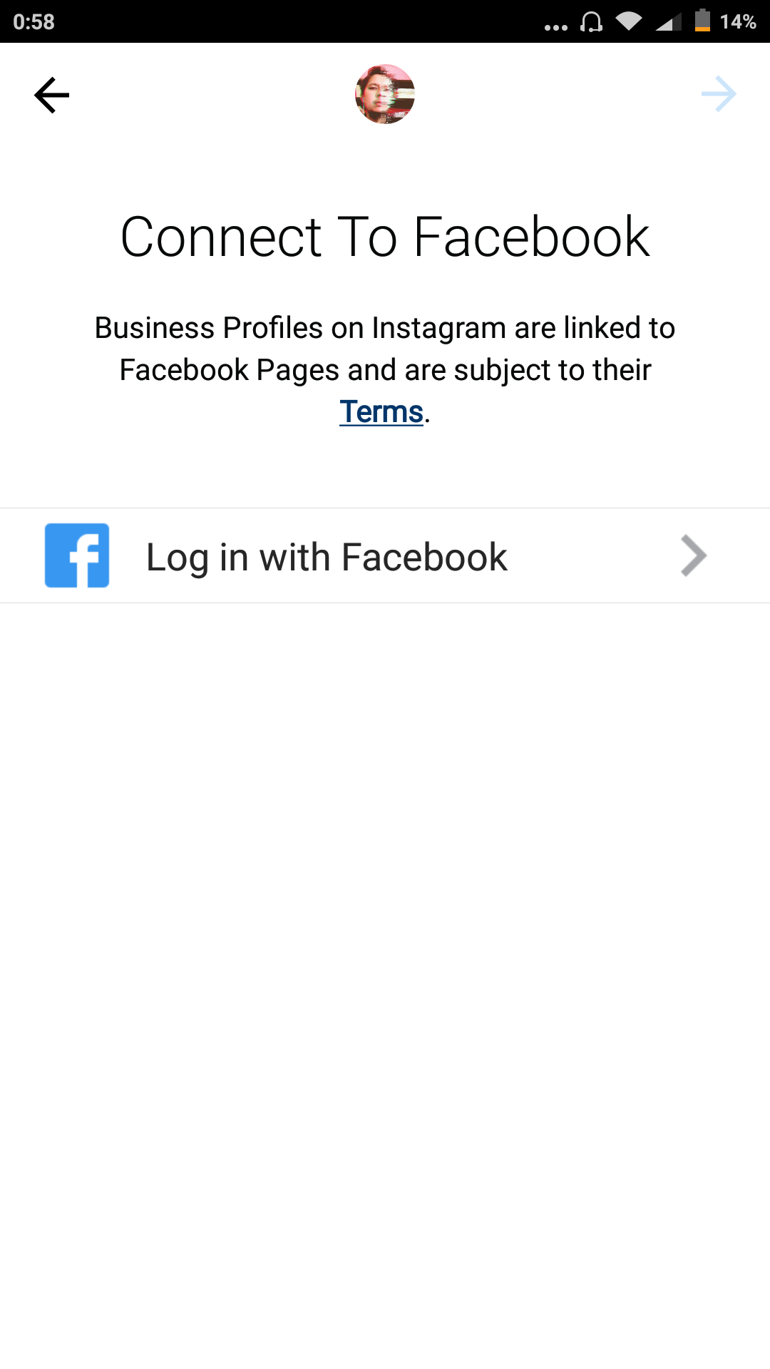log in with Facebook