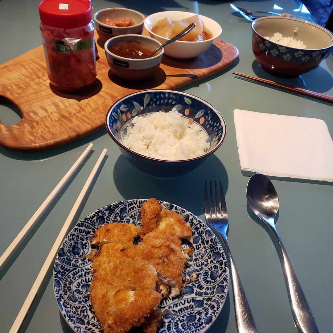 Japanese chicken cutlet and stewed daikon