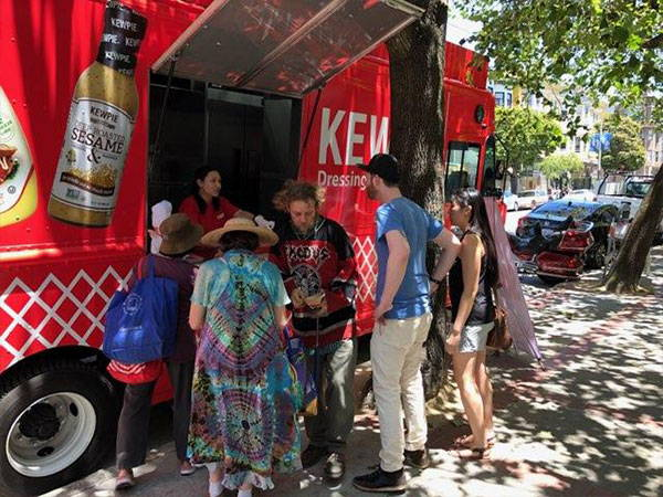Crowd forms at the Kewpie food truck