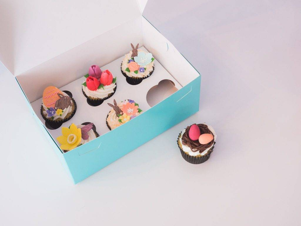 Easter themed cupcakes in a box from House of Clarendon in Lancaster, PA
