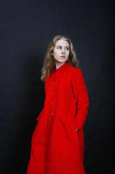 Платье вельветовое красное