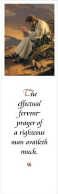 LDS art bookmark showing a painting by Simon Dewey of Christ praying. Text quotes from James 5:16