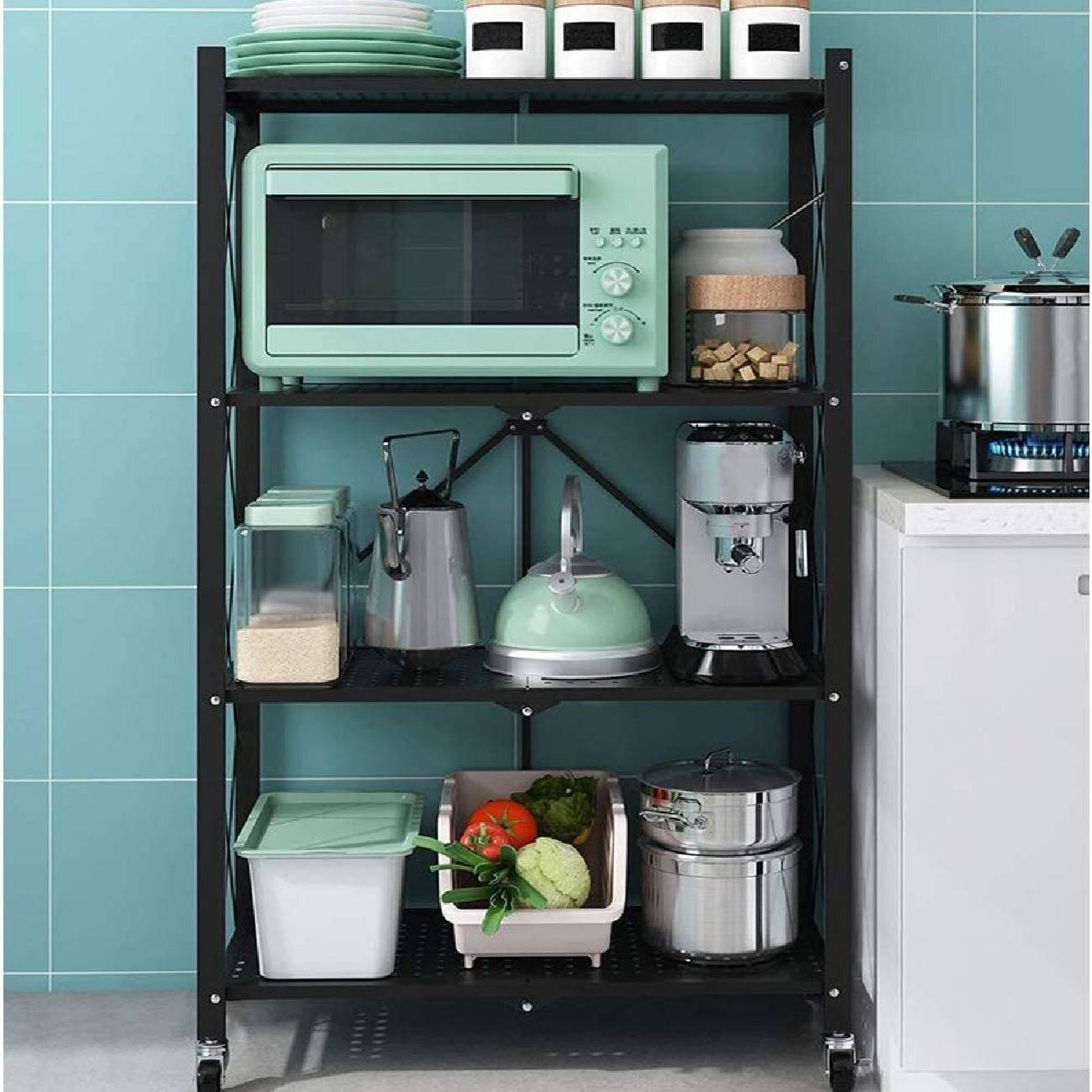 storage rack, shelving unit, standing shelf, kitchen rack, shelving with wheels, outdoor shelving for plants