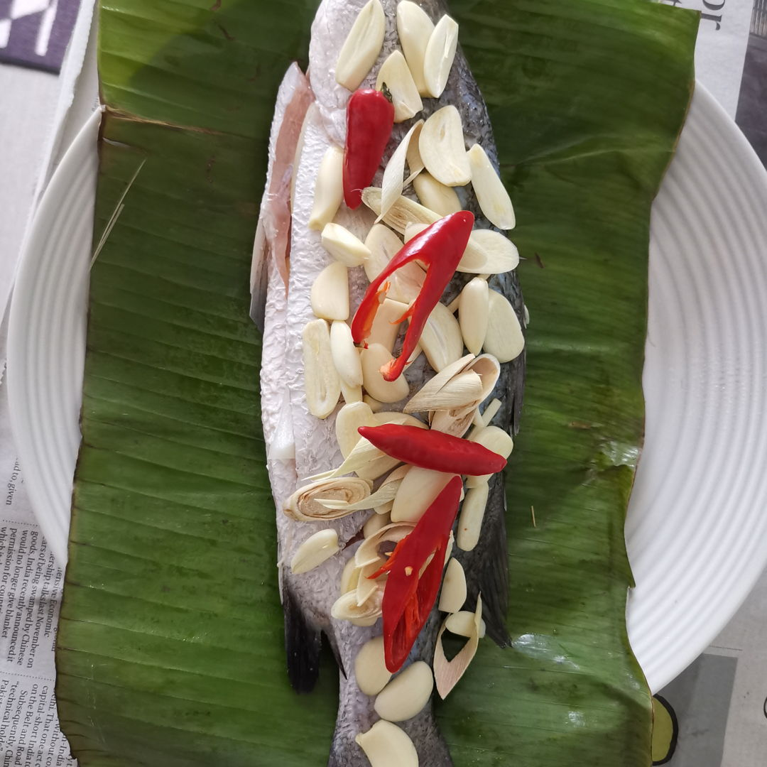 grilled banana-leaf wrapped spicy thai sea bass
