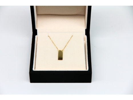 14K Yellow Gold Rectangle Bar Necklace