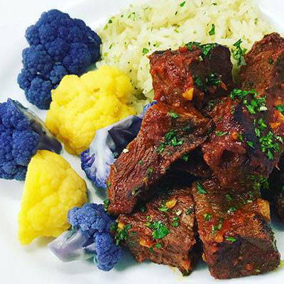 Chipotle Braised Steak w/Ginger Rice & Cauliflower ( HP | GF | HF )