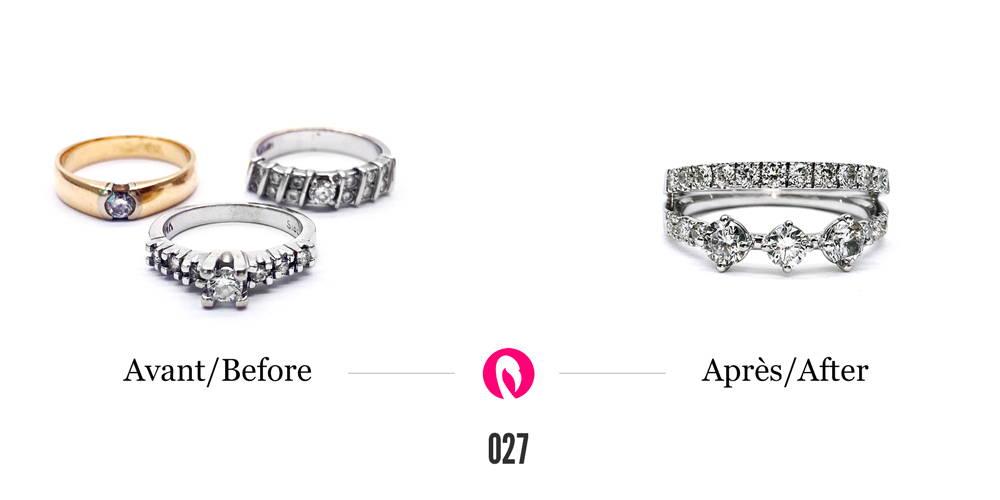 Trois bagues de métaux différents avec petits et gros diamants transformée en une seule bague à deux corps de bague en or blanc mettant en relief tous les diamants autour.