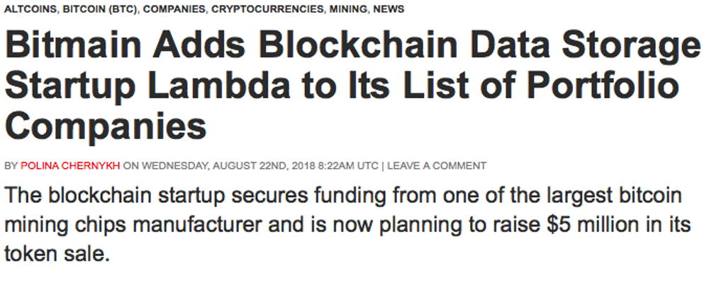 Bitmain invests in Lambda coin