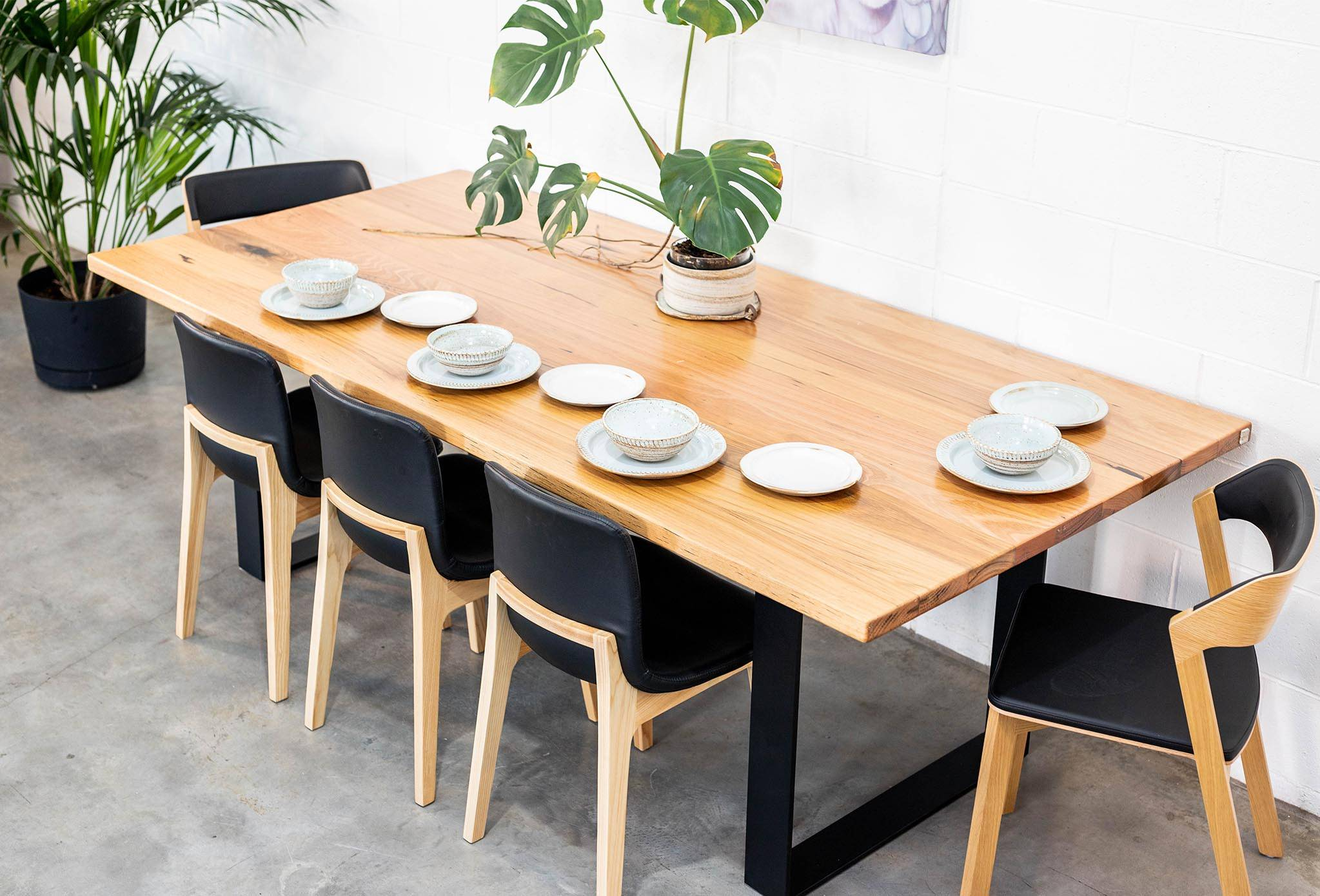 Straightboard Stringybark Clean and Clear. Black Steel Box Ends Dining Table