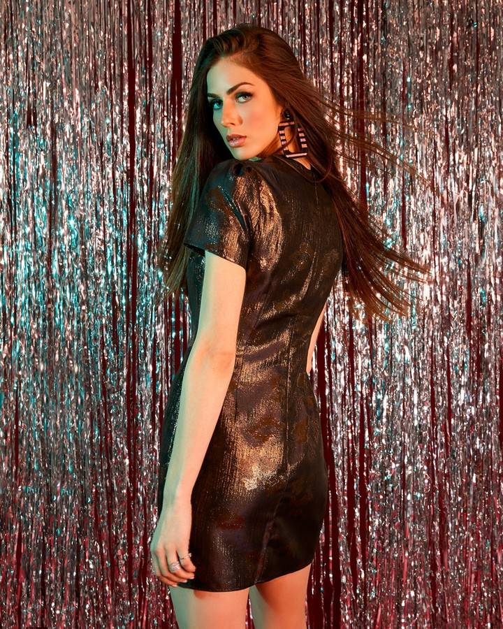 Metallic Cap Sleeve Mini Dress