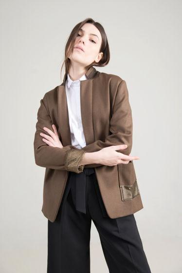Жакет из шерстяной ткани с золотым карманом
