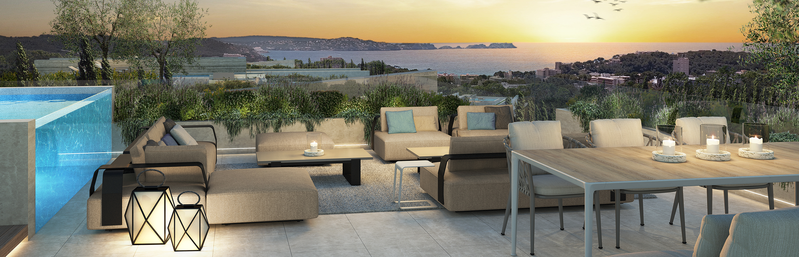 Puerto Andratx - Chill-Out roof terrace with sunset views