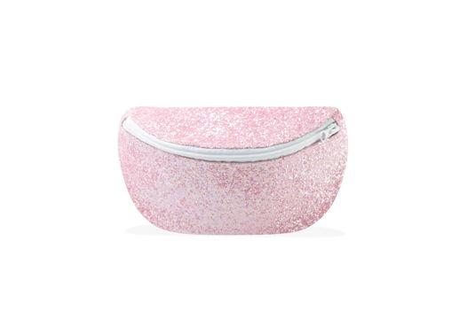 Сумка на пояс розовая с блестками с белым ремнем