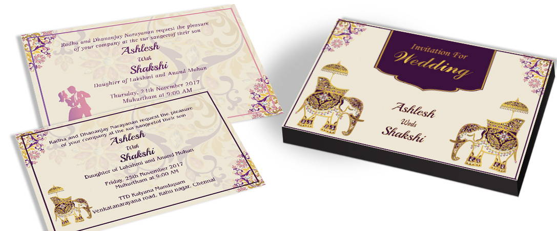Twin Elephant Themed Invitation for Indian Weddings