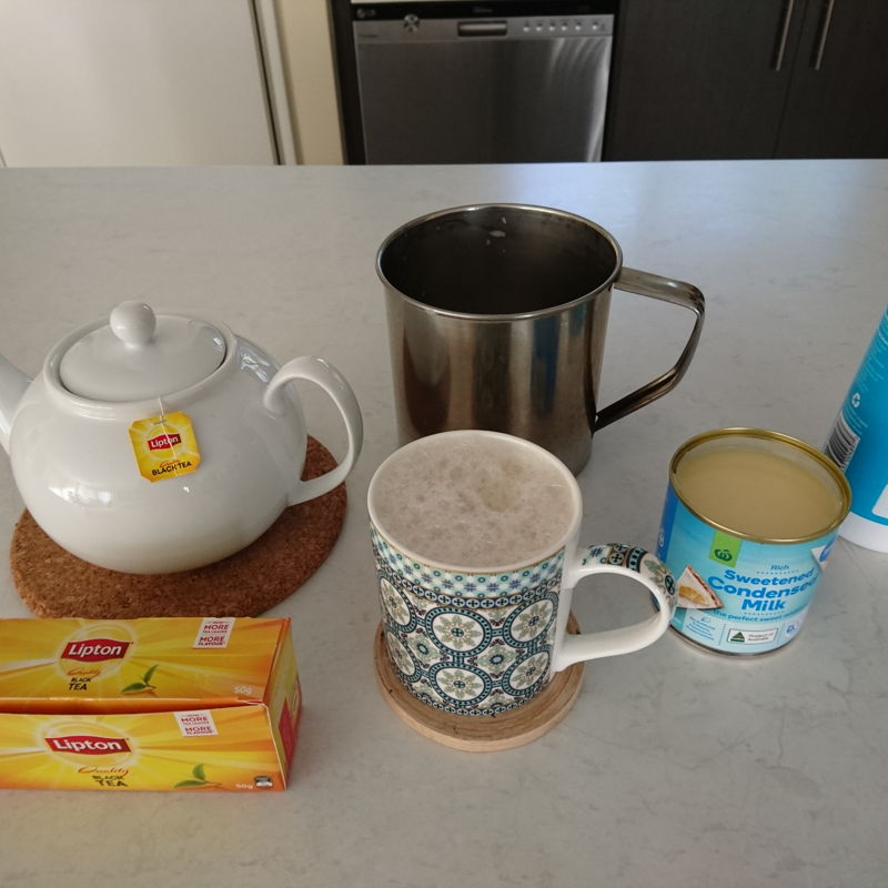 Date: 16 Oct 2019 (Wed) 14th Drink: Teh Tarik (Malaysian Pulled Tea) [68] [Score: 10.0] Author: Nyonya Cooking [Grace Teo] Cuisines: Malaysian, Singaporean, Bruneian Dish Type: Drink  A spark of genius! How did I live all this while without knowing to prepare and drinking Teh Tarik every day?! MasterChef, Grace Teo reveals it all – the art of making Teh Tarik, the authentic signature drink of Malaysia every Malaysian should know how to make and drink! Thank you MasterChef Grace.  Statistics [16 Oct 2019 (Wed)]: Started cooking: 6 Jul 2019 (Sat). Targeted number of dishes (including drinks) to be completed within 2 years: 500. Total number of prepared dishes since 6 Jul 2019 (Sat): 68. Percentage of dishes completed out of targeted 500 dishes: 13.6%. Number of days after first cooking: 103. Number of days left to complete 500 dishes: 627. Dish/day performance (idle would be 100% or more): 96.4%.