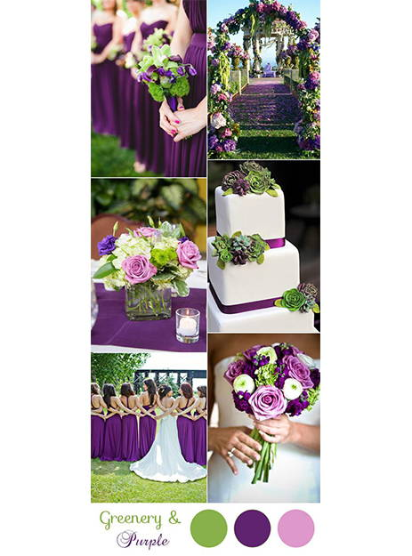 Green and purple wedding colors