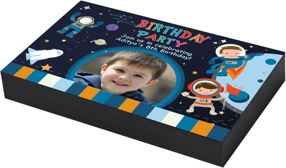 Space theme birthday invitation