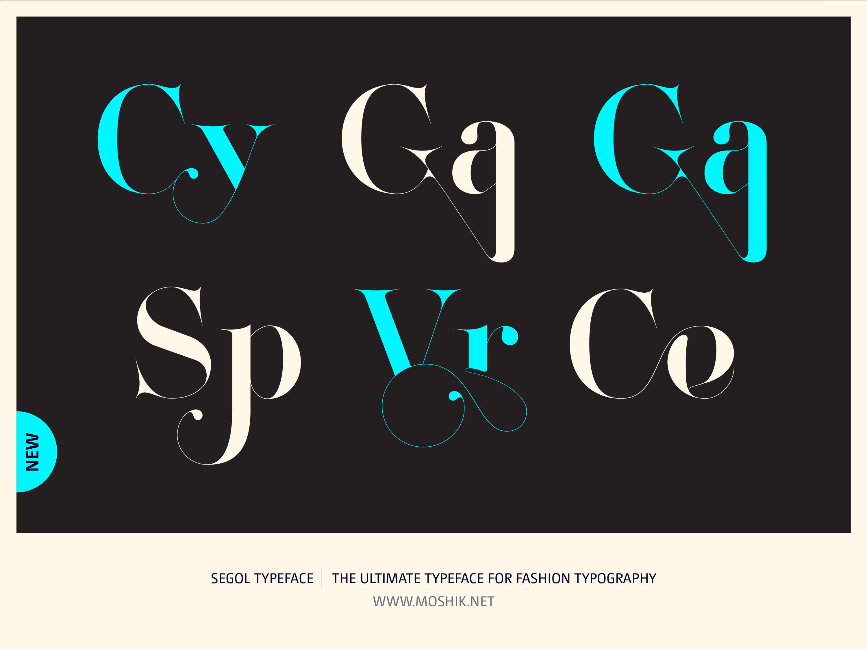 Segol Typeface, Cy ligatures, Ga ligature, Sp ligature, Ce ligature, fashion fonts, best fonts 2021, Must have fonts 2021, Moshik Nadav, Fashion logos, Vogue fonts
