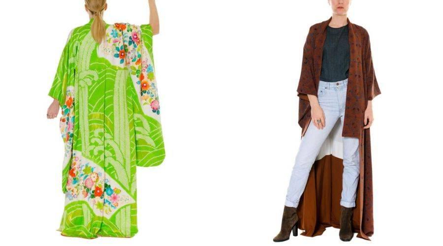 a furisode kimono and a komon kimono