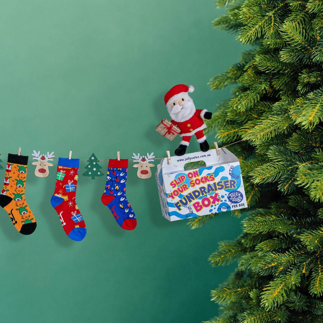 Christmas sock fundraiser box
