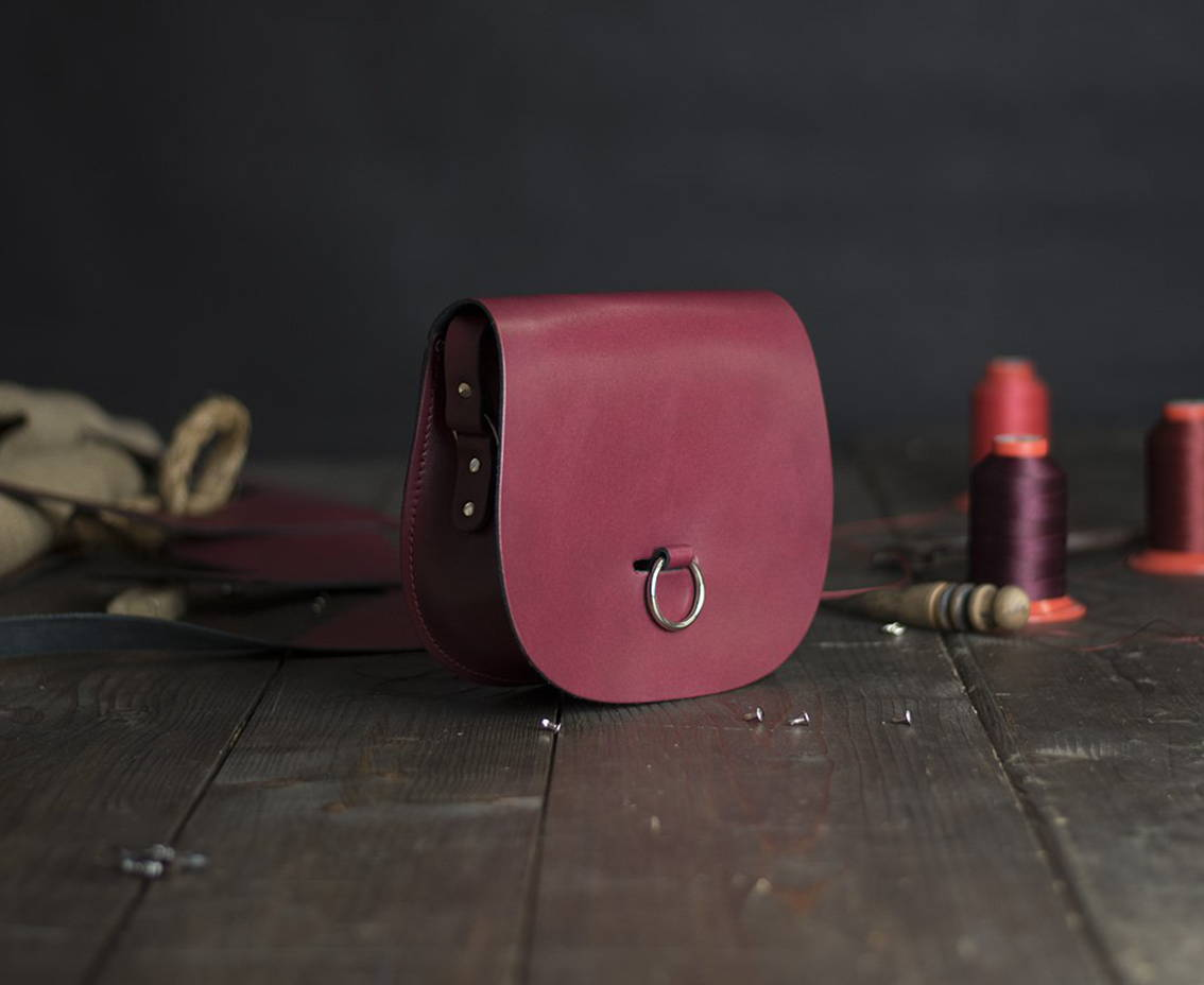 Red Leather Saddlebag